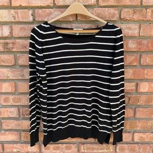 Joie Black White Striped Sweater
